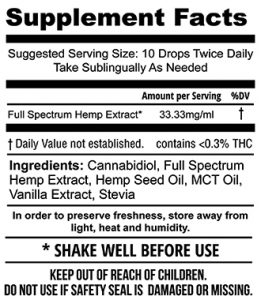 1000mg Hemp Extract Tincture (30mL)