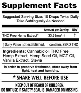 1000mg THC Free Hemp Extract Tincture (30mL)
