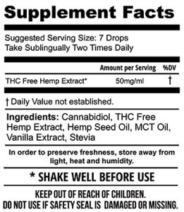 1500mg THC Free Hemp Extract Tincture (30mL)